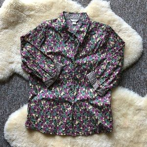 Christopher & Banks Floral Button Up Blouse Shirt